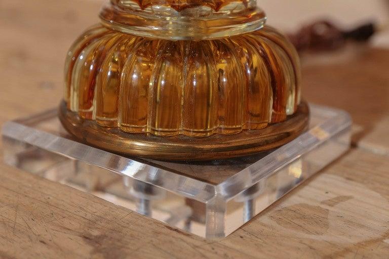 Linen Murano Amber Color Glass Lamp by Masbro For Sale