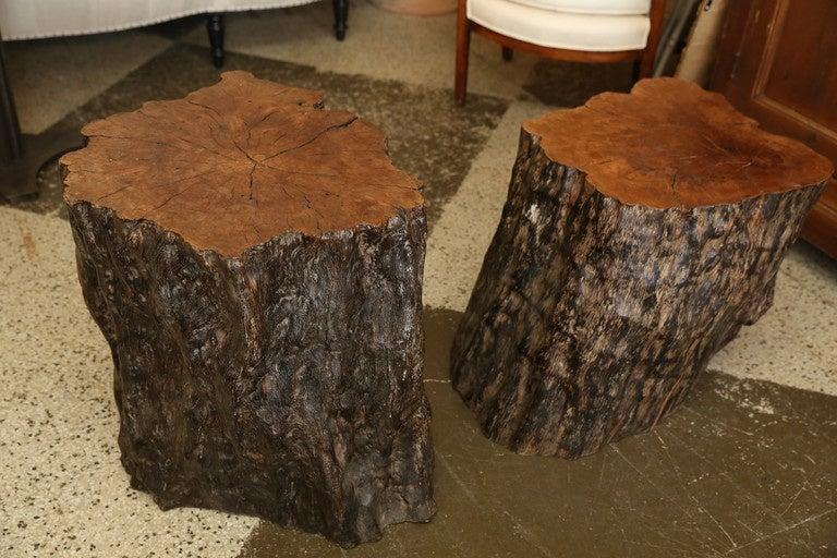 Pair of Wood Stump Tables at 1stdibs
