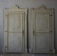 19th Century Italian Doors with Carved Frame