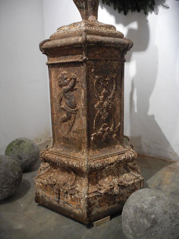 19th Century Cast Iron Statue Fountain Center from Lille, France  In Good Condition For Sale In Houston, TX