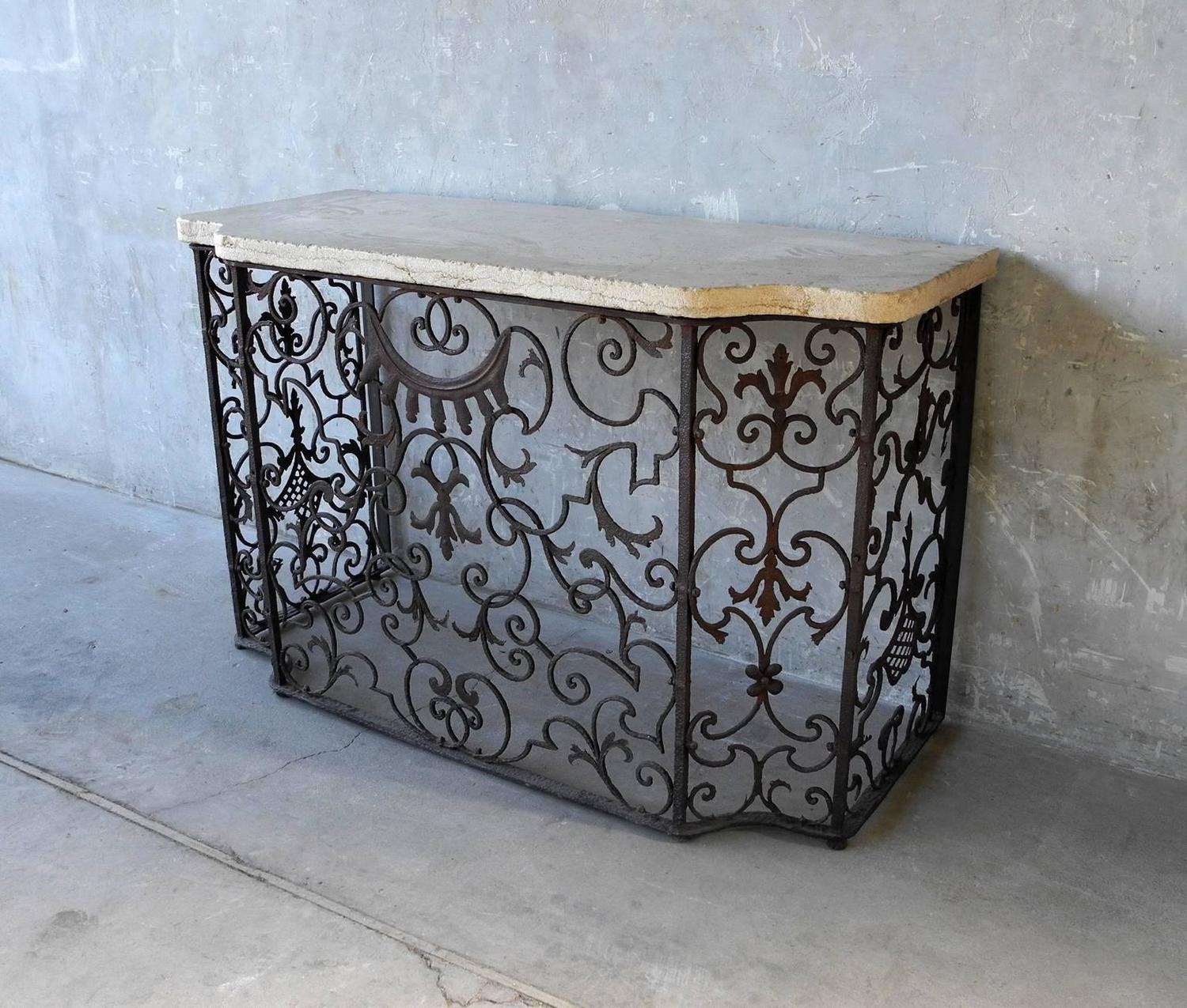 Antique reclaimed hand forged balcony console at 1stdibs for Balcony console