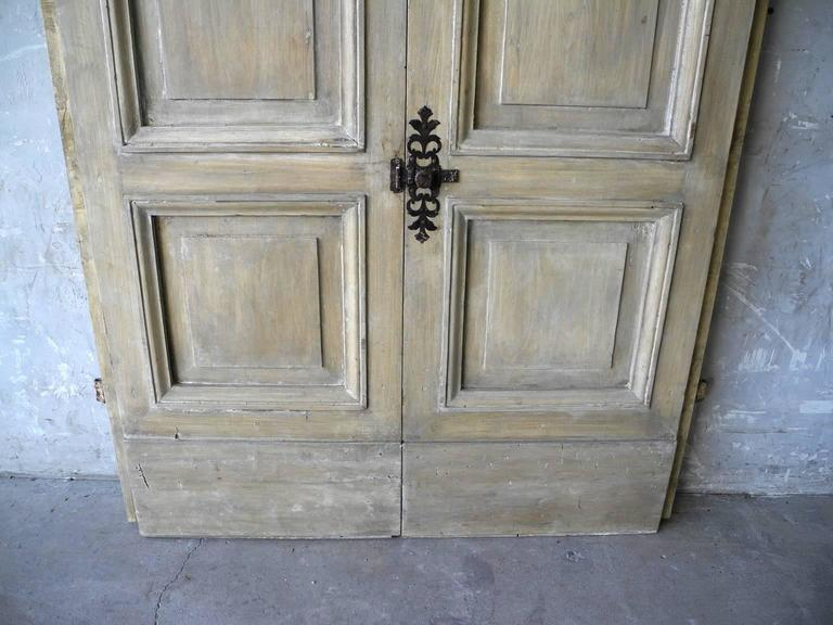 18th Century and Earlier Pair of Antique Italian 18th Century Wooden Doors with Panelling & Iron Hardware For Sale