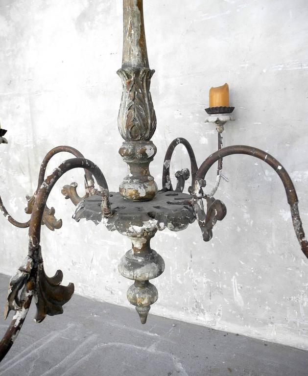 19th Century French Chandelier with Four Candelabra Arms 3