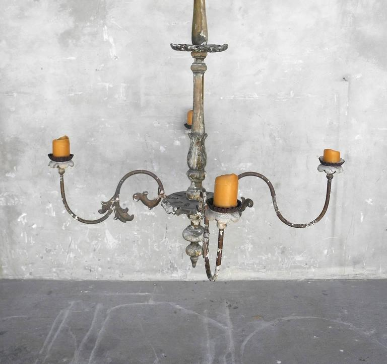 19th Century French Chandelier with Four Candelabra Arms 6