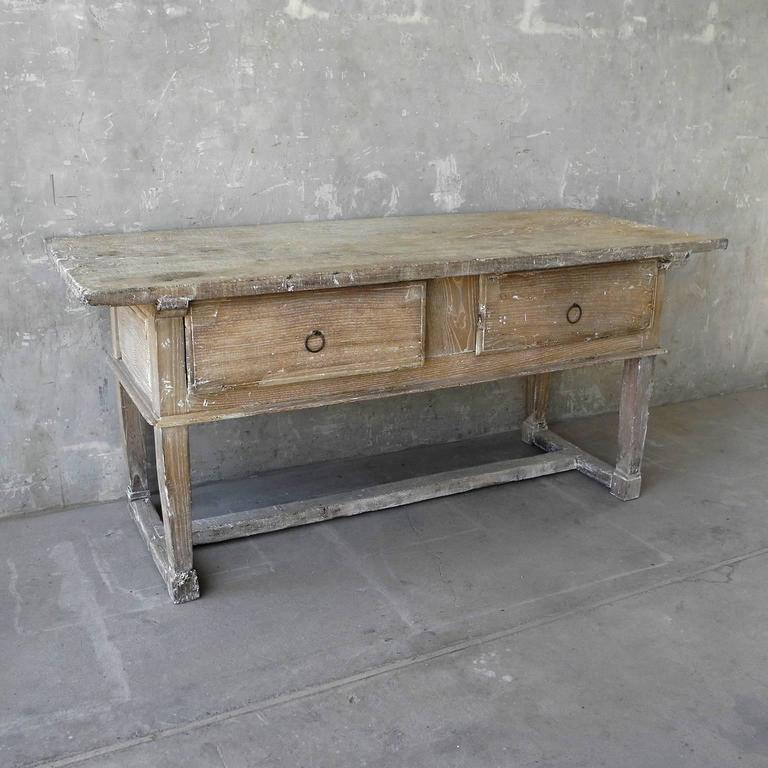 Kitchen Bench Finishes: 17th Century Spanish Kitchen Table With Bleached Wood