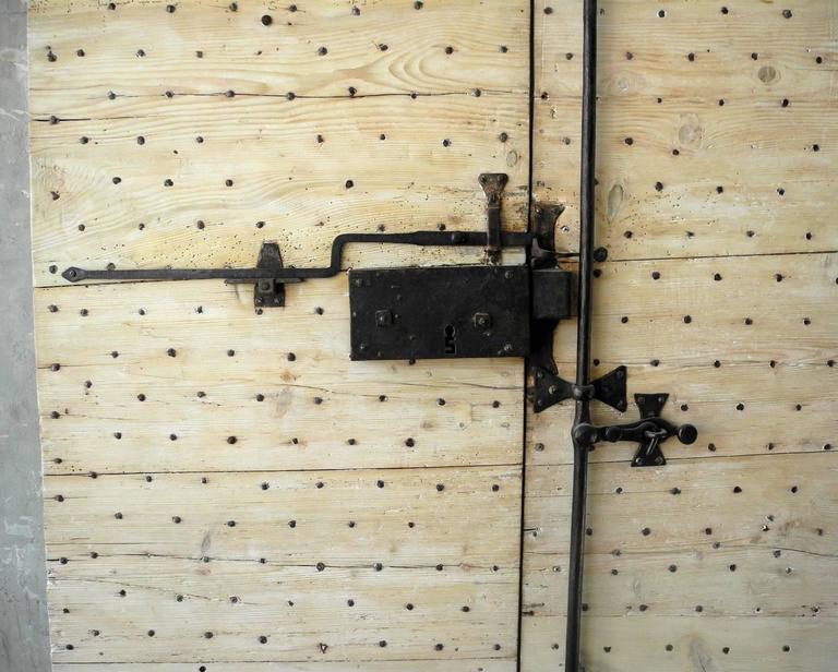 Pair of 18th Century Natural Walnut Doors with Nailheads and Original Hardware 4
