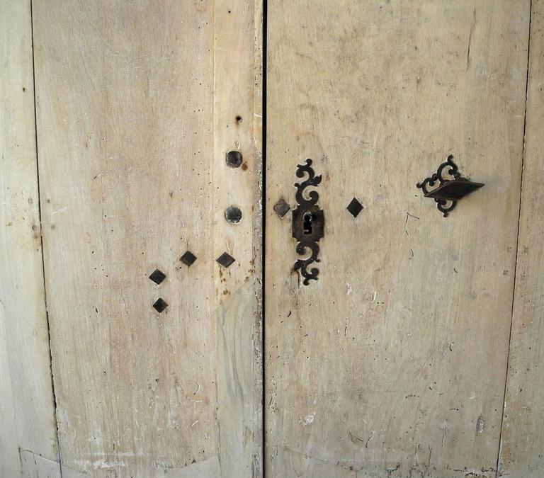 Pair of 18th Century Natural Walnut Doors with Nailheads and Original Hardware 5