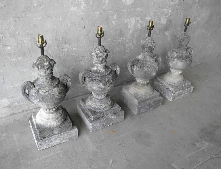 Set of Four Antique French Carved Limestone Elements Turned into Lamps 2