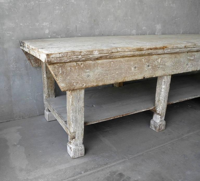 Large Italian Ceramic Sculptor's Table with Bleached Patina and Column Legs 2