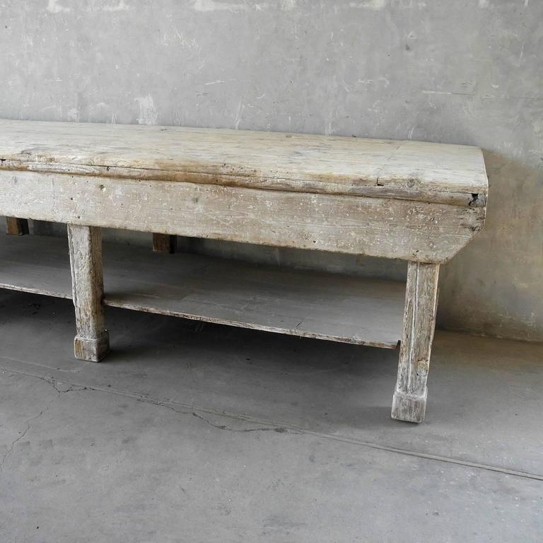 Large Italian Ceramic Sculptor's Table with Bleached Patina and Column Legs 3