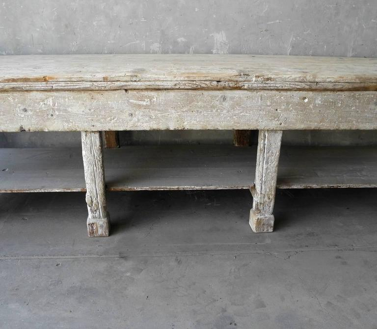 Large Italian Ceramic Sculptor's Table with Bleached Patina and Column Legs 4