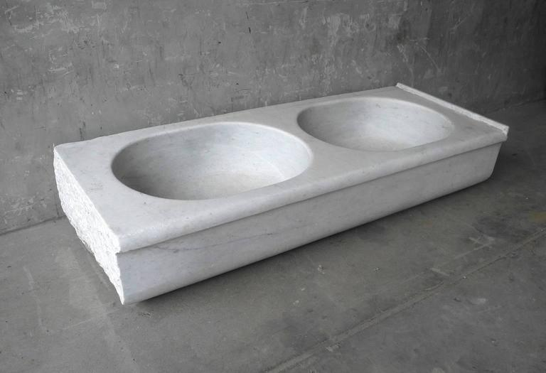 Antique Large Double White Marble Sink from Italian Villa Outside Arezzo 3
