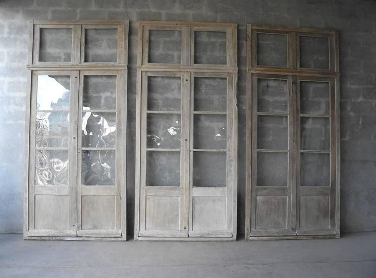Antique, Reclaimed Large Wooden Windows from Sisteron with Natural Wood Finish 2