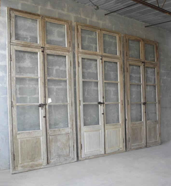 Antique, Reclaimed Large Wooden Windows from Sisteron with Natural Wood Finish 4