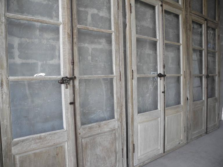 Antique, Reclaimed Large Wooden Windows from Sisteron with Natural Wood Finish 5