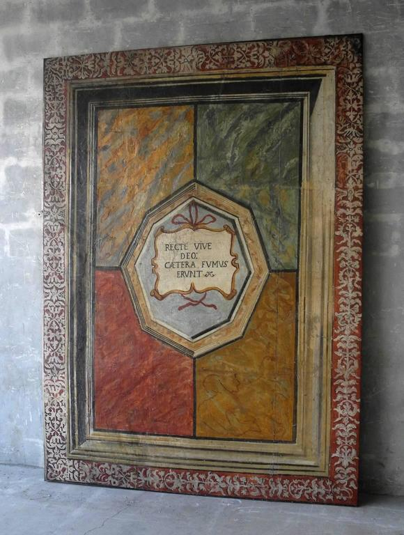 Large, Antique Painted Panel from Mantona, Italy 2