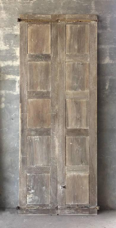 Antique Pair of Tall Walnut Doors with Original Hardware and Paneling 2