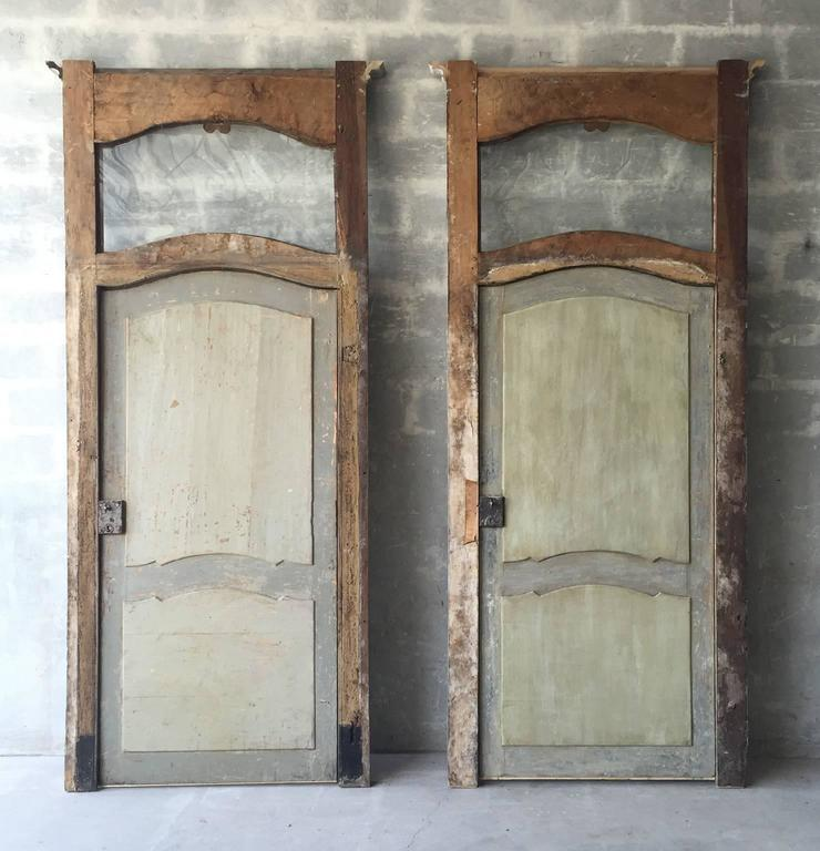 Antique Set of Two Large Italian Doors with Blue Patina and Glass Transom 2