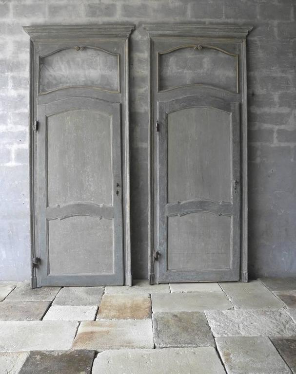 Antique Set of Two Large Italian Doors with Blue Patina and Glass Transom 6