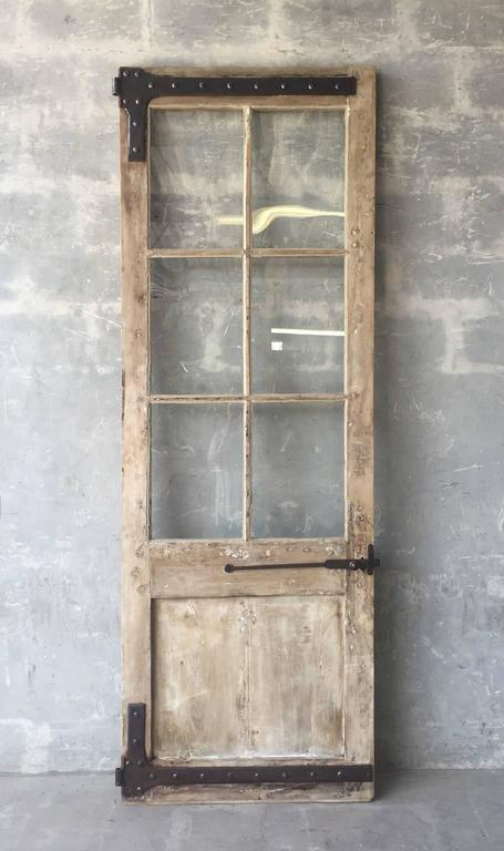 Antique French Walnut Door with Glass and Original Handle and Carved Bottom 2