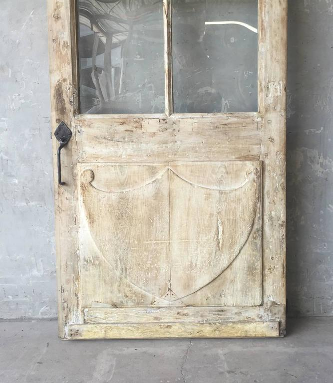 Antique French Walnut Door with Glass and Original Handle and Carved Bottom 3