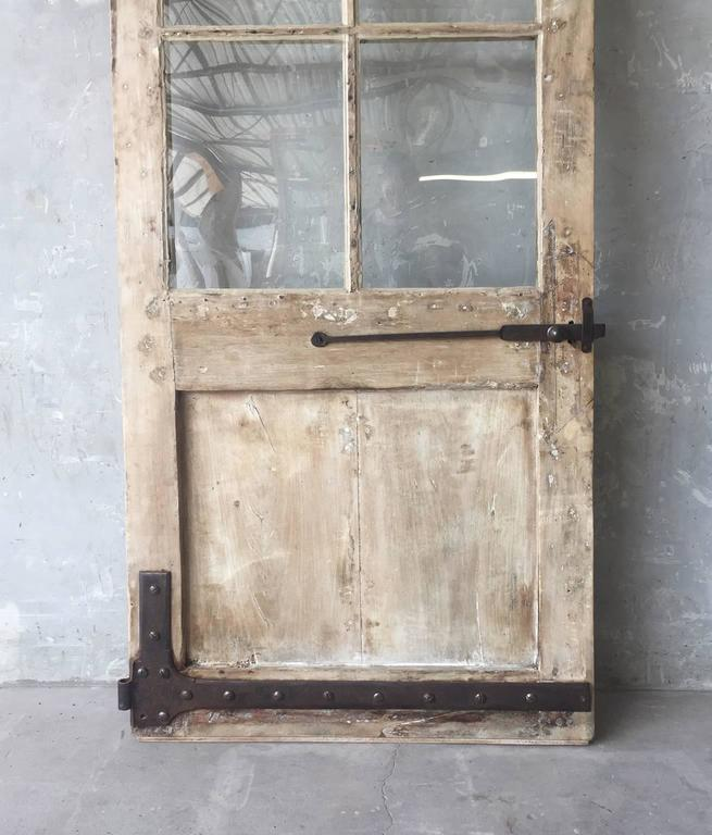 Antique French Walnut Door with Glass and Original Handle and Carved Bottom 4