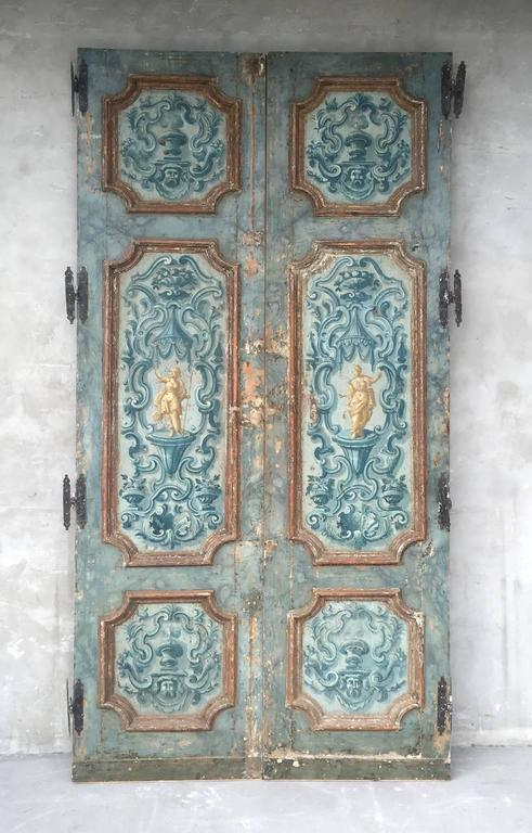 Antique Pair of Extravagantly Painted Doors from Naples, Italy 18th Century 2