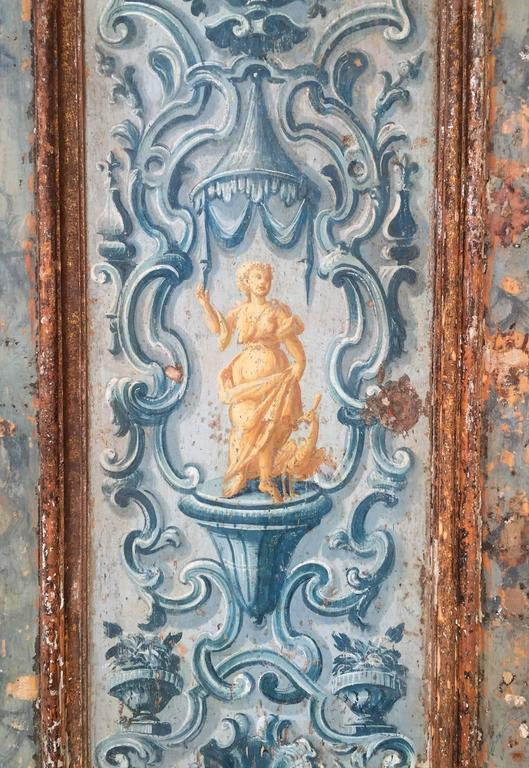 Antique Pair of Extravagantly Painted Doors from Naples, Italy 18th Century 3