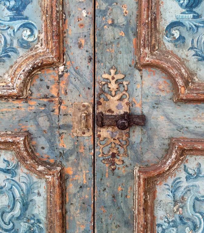 Antique Pair of Extravagantly Painted Doors from Naples, Italy 18th Century 4