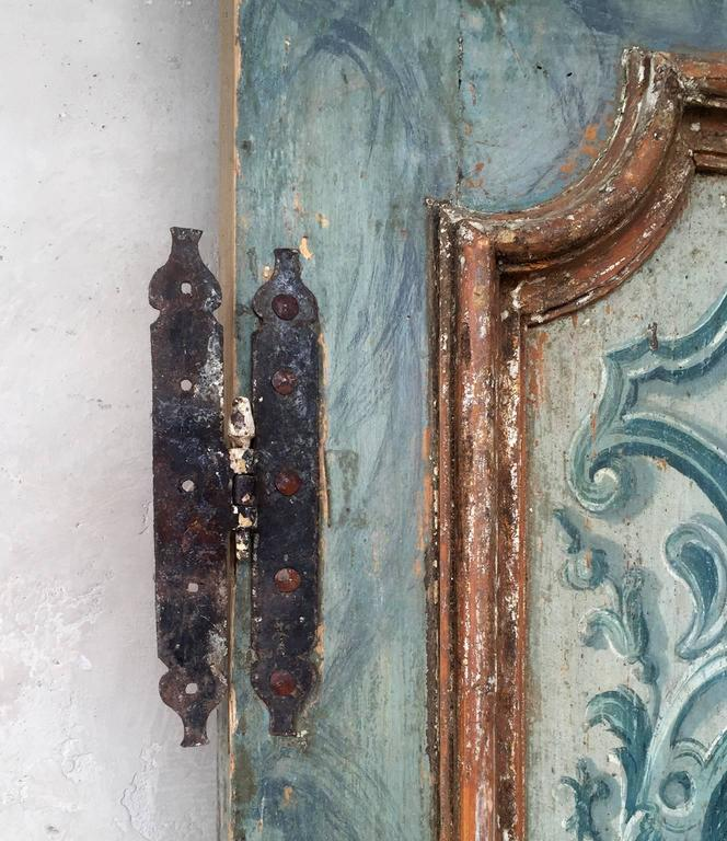 Antique Pair of Extravagantly Painted Doors from Naples, Italy 18th Century 5