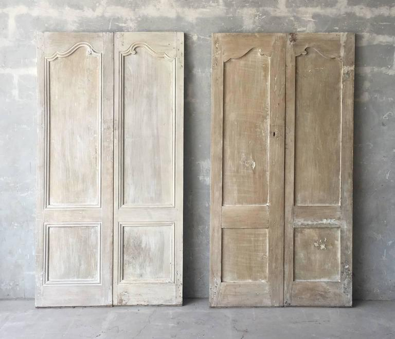 Two Pairs of Matching Antique Cabinet Doors with Reclaimed Hardware 2