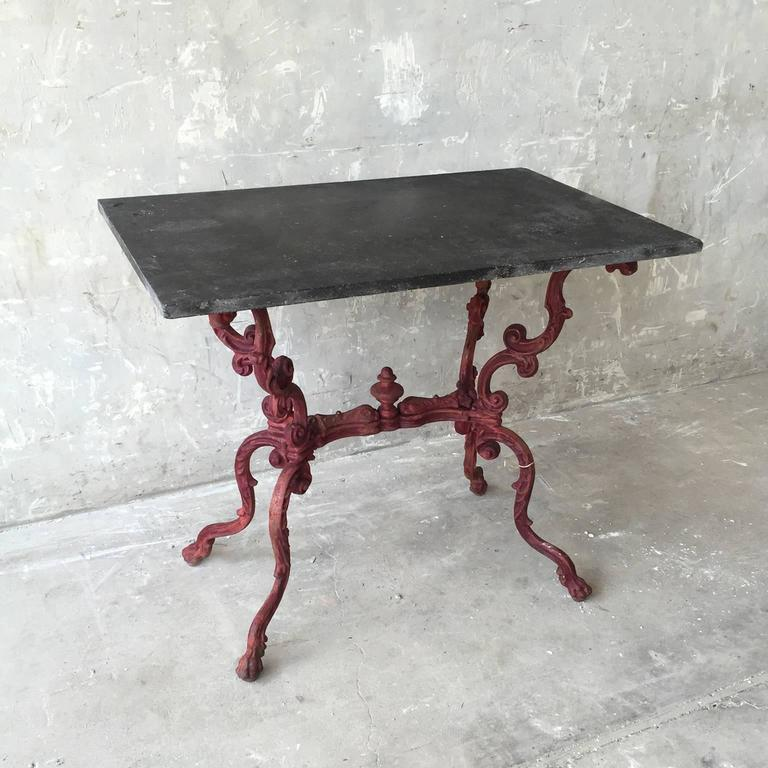 Antique 19th Century Table de Jardin with Slate Top and Red Iron Base 2