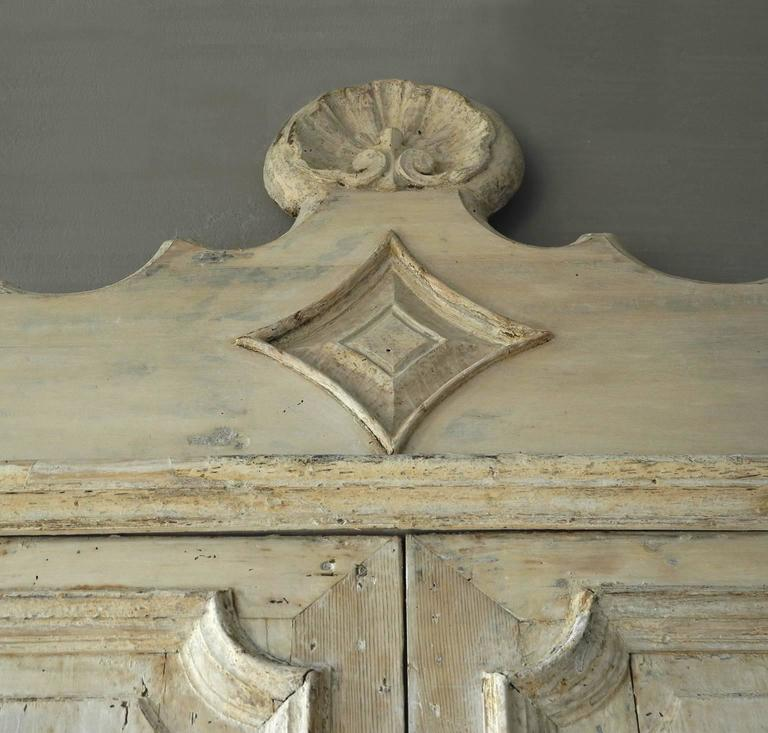 Antique Pair of Grand 18th Century Doors from Naples, Italy with Crown Frame 4