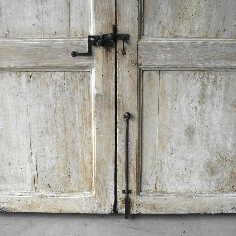 Antique Pair of Grand 18th Century Doors from Naples, Italy with Crown Frame 5