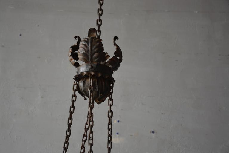 Late 19th Century Italian Tole Chandelier In Good Condition For Sale In Houston, TX