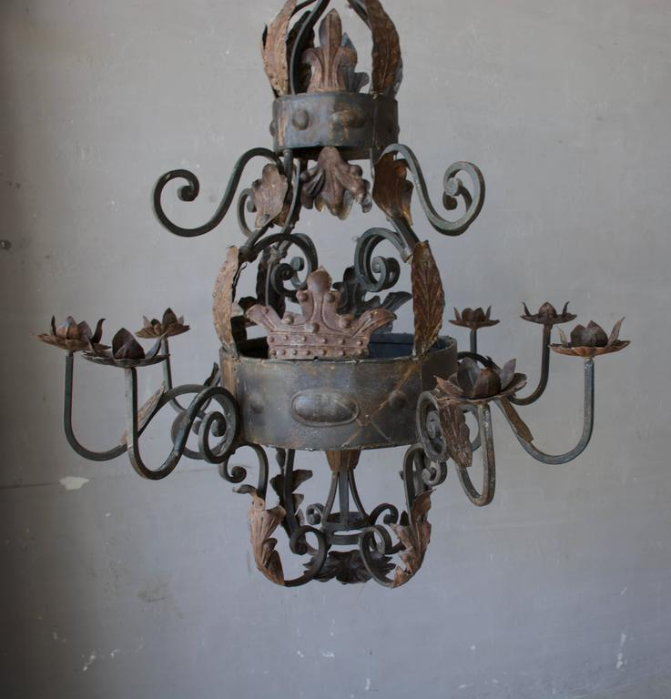 Antique French iron chandelier.
