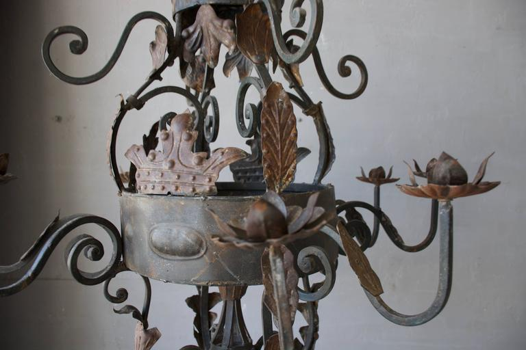 Antique French Iron Chandelier In Fair Condition For Sale In Houston, TX