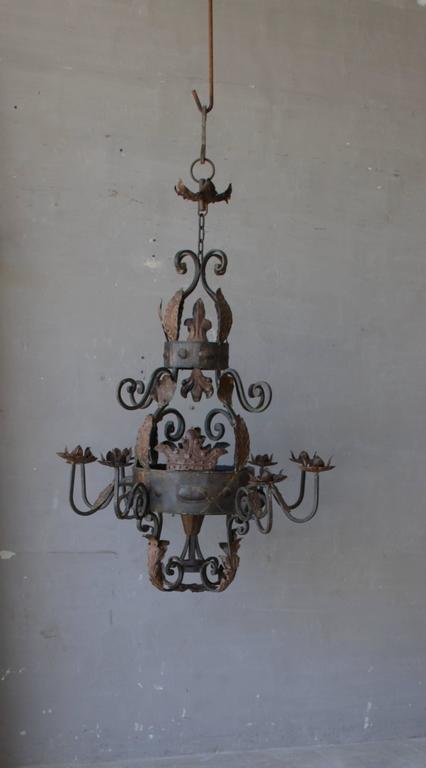 Antique French Iron Chandelier For Sale 1
