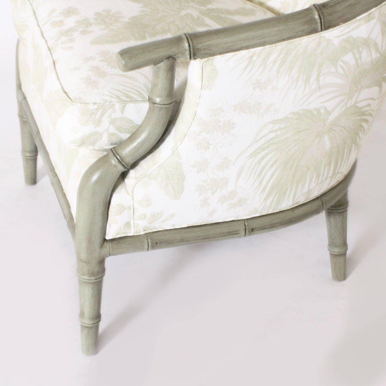 Pair of Faux Bamboo Chairs Upholstered in Jan Showers for Kravet Fabric In Excellent Condition For Sale In Dallas, TX
