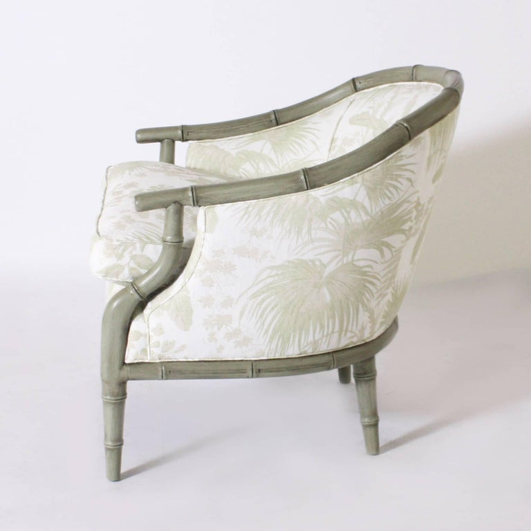 Late 20th Century Pair of Faux Bamboo Chairs Upholstered in Jan Showers for Kravet Fabric For Sale