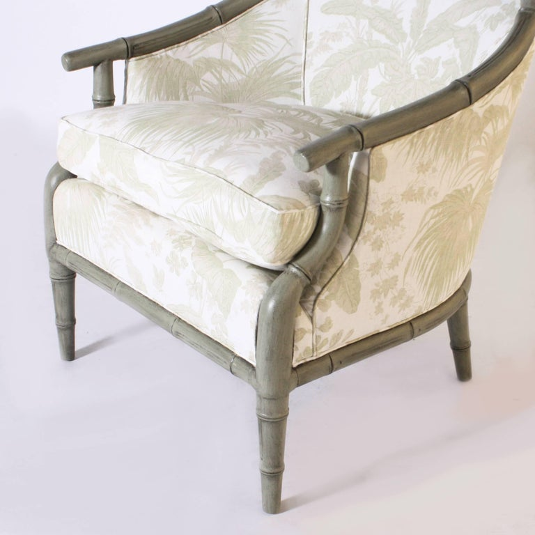 Pair of Faux Bamboo Chairs Upholstered in Jan Showers for Kravet Fabric For Sale 1