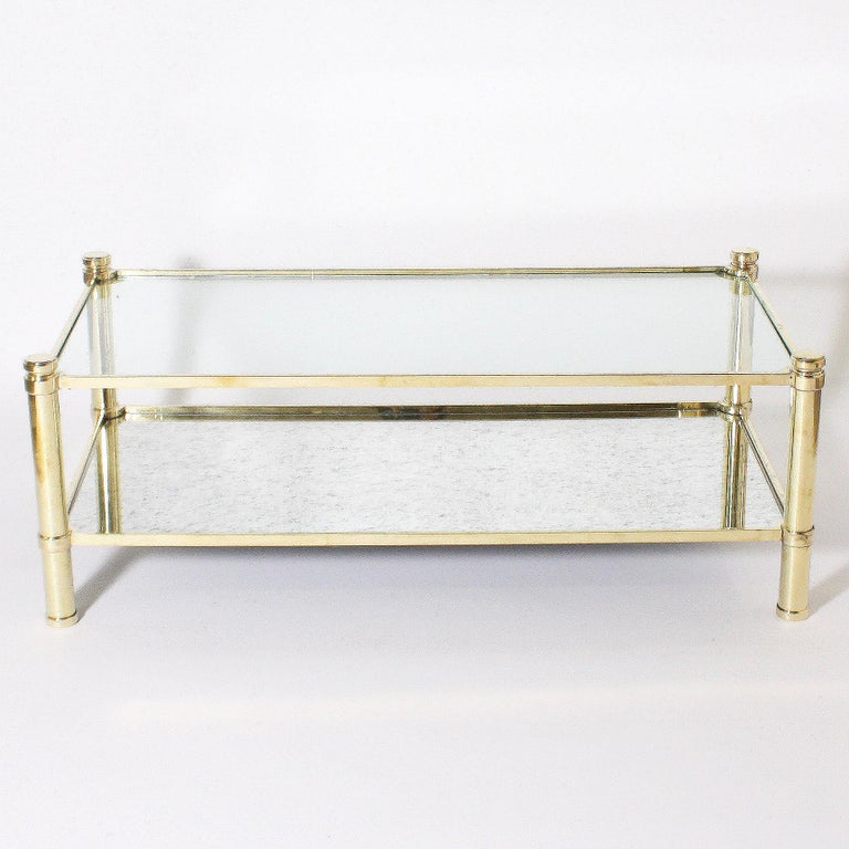 French Bronze Coffee Table with Glass Shelves in the Style of Jacques Quinet For Sale