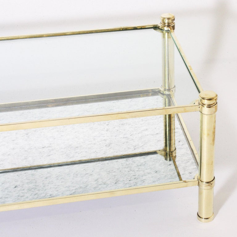 Mid-20th Century Bronze Coffee Table with Glass Shelves in the Style of Jacques Quinet For Sale