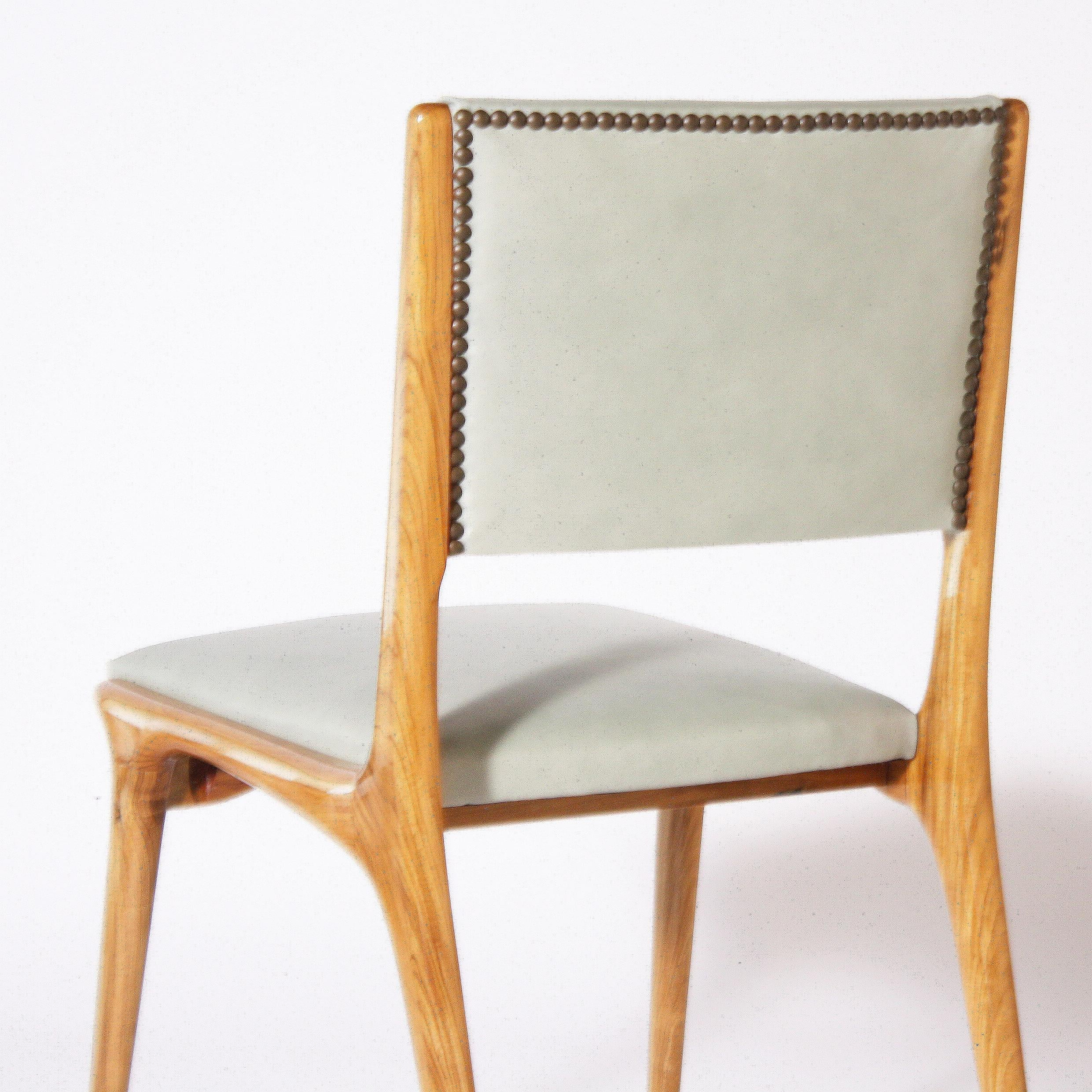 Italian Chair Covered In Leather, Circa 1950 In Good Condition For Sale In  Dallas,