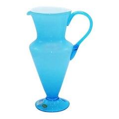 Aqua Balboa White Cased Murano Glass Pitcher, circa 1960