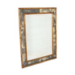 Faux Bamboo Mirror with Smokey Mirrored Frame, circa 1970