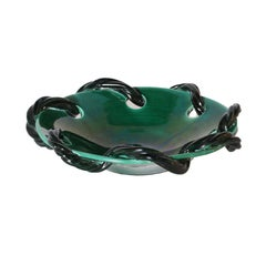 Turquoise Ceramic Bowl from Vallauris with Rope Detail, circa 1950