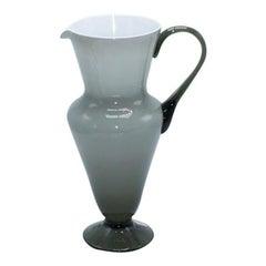 Gray Balboa White Cased Murano Glass Pitcher, circa 1960