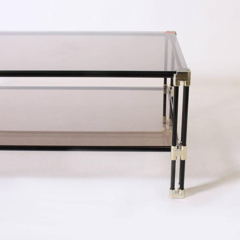 Silver Plated And Black Metal Coffee Table With Glass Tops Circa 1950 For Sale At 1stdibs