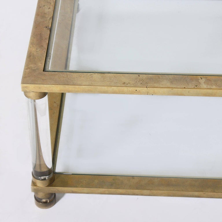 French Brass and Lucite Coffee Table, circa 1970 In Good Condition For Sale In Dallas, TX